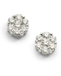 Saks Fifth Avenue - 0.75 Tcw Ideal Cut Colorless Diamond Floral & 18k White Gold Earrings - Lyst