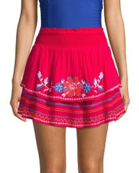 Parker - Embroidered Cotton Cover-up Skirt - Lyst