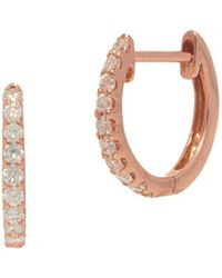Nephora - Pave Diamond And 14k Rose Gold Huggie Earrings - Lyst