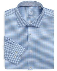 Bugatchi - Chequered Shaped-fit Cotton Dress Shirt - Lyst