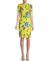 028c60d9 Calvin Klein - Floral Short-sleeve Sheath Dress - Lyst