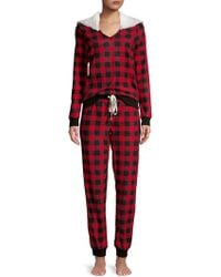 Jane And Bleecker - Two-piece Faux Fur-trimmed Pajama Set - Lyst