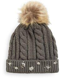 Cara - Faux Fur Charm Accented Cap - Lyst