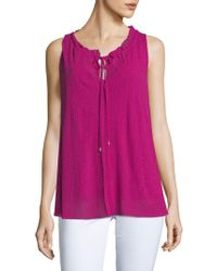 Ellen Tracy - Shirred Sleeveless Top - Lyst