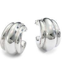 "Saks Fifth Avenue - Sterling Silver Fluted Hoop Earrings/.75"" - Lyst"