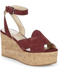 Nine West - Kierredy Suede Ankle-strap Wedges - Lyst