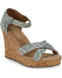 TOMS - Embroidered Denim Wedge Sandals - Lyst