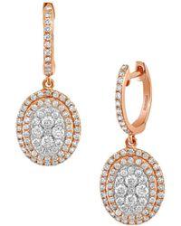 Effy - 14k Rose Gold & Diamond Hoop Drop Earrings - Lyst