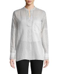 Vince - Striped Cotton & Silk Shirt - Lyst