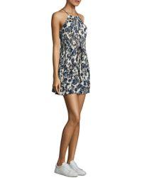 Cinq À Sept - Lotus Floral-print Silk Halter Dress - Lyst