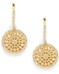 Effy - Diamond & 14k Yellow Gold Medallion Drops - Lyst