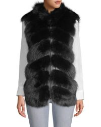 Belle Fare - V-neck Shearling & Fox Fur Leather Vest - Lyst