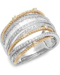 Effy - 14k White Gold, Yellow Gold & Baguette Diamond Multi-band Ring - Lyst