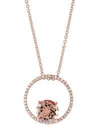 Effy - Blush Morganite, Diamond And 14k Rose Gold Pendant Necklace - Lyst