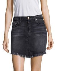 7 For All Mankind - Mini Skirt With Scalloped Hem - Lyst