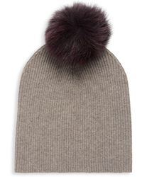 Sofia Cashmere - Ribbed Fox Fur And Cashmere Beanie - Lyst