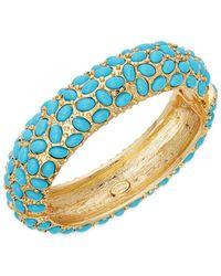 Kenneth Jay Lane - Turquoise Hinged Bangle Bracelet - Lyst