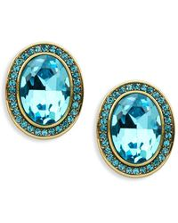 Heidi Daus - Faceted Crystal Oval Stud Earrings - Lyst