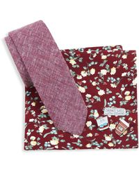Original Penguin - Five-piece Floral Pocket Square, Cotton Tie And Lapel Pins Set - Lyst
