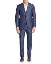 Corneliani - Regular-fit Tonal Pinstriped Cotton & Silk Suit - Lyst