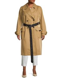 Avec Les Filles - Plus Cotton Double-breasted Trench Coat - Lyst