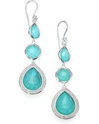 Ippolita - Stella Turquoise, Clear Quartz, Diamond & Sterling Silver Doublet Triple-drop Earrings - Lyst