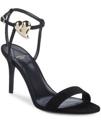 Aperlai - Palma Heart Suede Stiletto Sandals - Lyst