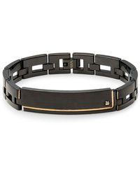 Saks Fifth Avenue - Diamond & Stainless Steel Metal Links Bracelet. - Lyst