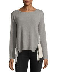 PPLA - Colorblock Dropped Shoulder Sweater - Lyst