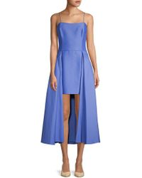 Halston - High-low Cotton-blend A-line Dress - Lyst