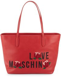 Love Moschino - Rose Embroidered Logo Leather Tote - Lyst