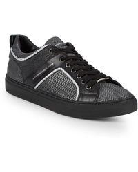 Alessandro Dell'acqua - Chevron Lace-up Leather Platform Sneakers - Lyst