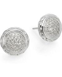 John Hardy - Classic Chain Diamond & Sterling Silver Stud Earrings - Lyst