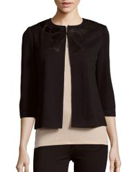 St. John - Cropped Bow Wool-blend Cardigan - Lyst