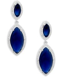 Saks Fifth Avenue - Crystal, Sapphire And Sterling Silver Double Drop Earrings - Lyst