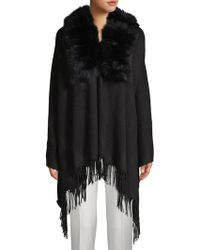 Belle Fare - Dyed Fox Fur Trim Open-front Poncho - Lyst