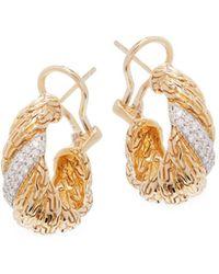 John Hardy - Classic Chain 18k Yellow Gold & Diamond Earrings - Lyst