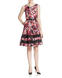 Chetta B - Floral Belted A-line Dress - Lyst