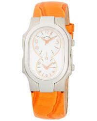 Philip Stein - Signature Stainless Steel, Mother-of-pearl & Embossed Patent Leather-strap Watch - Lyst
