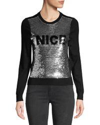 Alice + Olivia Chia Naughty & Nice Metallic Sequin Sweater