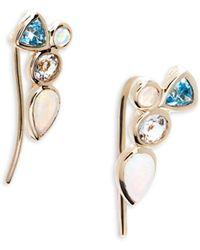 Saks Fifth Avenue - Opal, Prasiolite, Swiss Blue Topaz And 14k Yellow Gold Cluster Earrings - Lyst