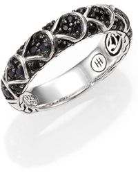 John Hardy - Naga Black Sapphire & Sterling Silver Slim Dragon Band Ring - Lyst