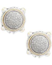 Effy - 18k Yellow Gold & Diamonds Round Earrings - Lyst