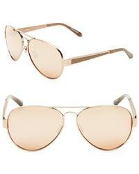 abc6ba7a8824 Linda Farrow - 62mm Snakeskin Trim Aviator Sunglasses - Lyst
