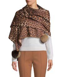 La Fiorentina - Fox Fur Pom-pom Leopard Scarf - Lyst