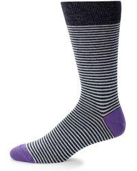 Saks Fifth Avenue - Thin Stripe Crew Socks - Lyst