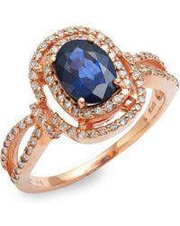 Effy - 14k Rose Gold, Natural Diffused Ceylon Sapphire & Diamond Ring - Lyst