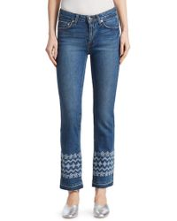 Derek Lam - Jane Embroidered Ankle Jeans - Lyst