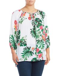 Vince Camuto - Printed Keyhole Top - Lyst