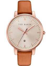 Ted Baker - Kate Date Displayed Leather Strap Watch - Lyst